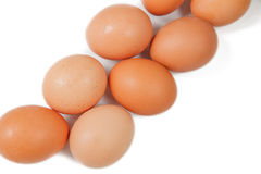 Ovos no fundo branco Fotografia de Stock