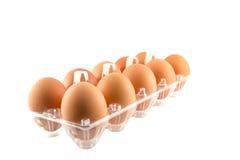 Ovos no recipiente do cartão Imagem de Stock Royalty Free