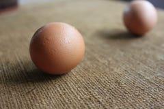 Ovos no tapete Fotografia de Stock