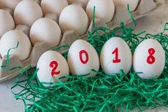 Ovos pelo ano novo com a inscrição 2018 Fotografia de Stock Royalty Free