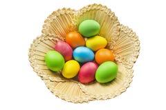 Ovos pintados em uma cesta Fotografia de Stock Royalty Free