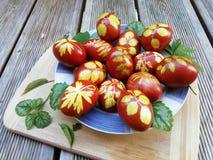 Ovos pintados na casca da cebola com ervas imagens de stock royalty free