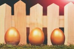 Ovos pintados na cor dourada no musgo Fotografia de Stock