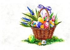 Ovos pintados Páscoa na tabela Logo a Páscoa ortodoxo Ainda vida rústica Aquarela molhada de pintura no papel Arte ingénua ilustração stock