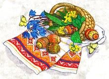 Ovos pintados Páscoa na tabela Logo a Páscoa ortodoxo Ainda vida rústica Aquarela molhada de pintura no papel Arte ingénua ilustração royalty free