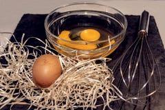 Ovos preparados para cozinhar a omeleta foto de stock