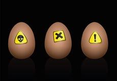 Ovos que advertem a dieta dos símbolos do perigo ilustração royalty free