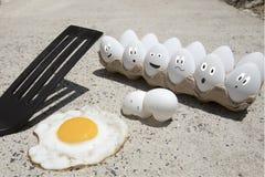 Ovos que fritam no passeio ilustrado Imagens de Stock