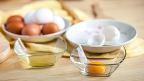 Ovos separados brancos e gemas, escudos de ovo no fundo fotos de stock royalty free