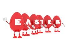 O vermelho de Easter eggs robôs Foto de Stock