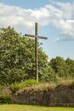 Ovraby church ruin cross Royalty Free Stock Photo