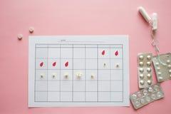 Ovulatiecyclus, concept Kalender voor een maand, teller van ovulatie en de menstruele cyclus stock afbeeldingen