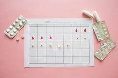 Ovulatiecyclus, concept Kalender voor een maand, teller van ovulatie en de menstruele cyclus royalty-vrije stock foto's
