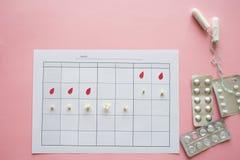 Ovulationszyklus, Konzept Kalender f?r einen Monat, Markierung der Ovulation und der Menstruationszyklus stockbilder