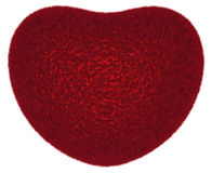 Owłosiony czerwony symboliczny serce odizolowywający na bielu Obraz Royalty Free