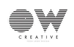 OW de Gestreepte Brief Logo Design van O W met Zwart-witte Strepen Royalty-vrije Stock Afbeelding