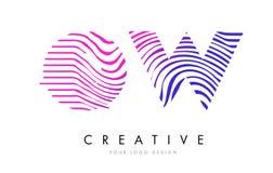 OW Gestreepte de Lijnenbrief Logo Design van O W met Magenta Kleuren Royalty-vrije Stock Fotografie