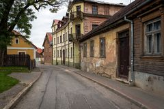 Ow street with old buildings in Cesis town, Latvia Royalty Free Stock Photo