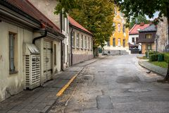 Ow street with old buildings in Cesis town, Latvia Stock Photography