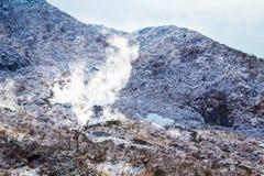 Owakudani,硫磺猎物在箱根,日本 免版税图库摄影