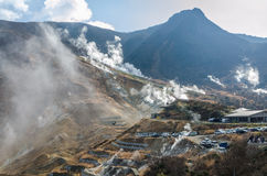 在Owakudani的日本山 免版税库存图片