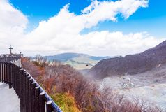 Owakudani is geothermal valley with active sulfur vents and hot. Springs in Hakone, Japan. Copy space for text royalty free stock image