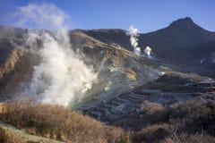 Owakudani still emits volcanic smoke containing hydrogen sulfide everywhere. royalty free stock photos