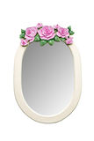 Owal Kształtował Różowego róża rocznika lustro na Białym background/Odizolowywającym Fotografia Royalty Free