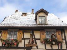 Owczarka niemieckiego dom w zimie Obraz Royalty Free