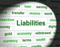 Owe Liabilities Means Bad Debt ed arretrati Fotografie Stock