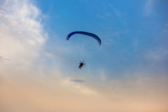 Owered paragliding. Powered paragliding, parachute with a motor Stock Photo