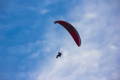 Owered paragliding. Powered paragliding, parachute with a motor Stock Images