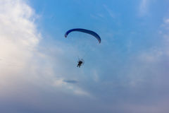 Owered paragliding. Powered paragliding, parachute with a motor Stock Image