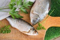 Łowi na drewnianej deski dwa surowej ryba Fotografia Royalty Free