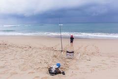 Łowić Plażowych oceanów wakacje Obrazy Royalty Free