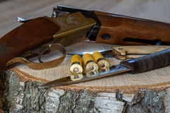 Łowiecki karabin i amunicje Zdjęcia Royalty Free