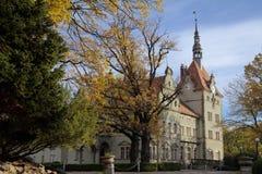 Łowiecki kasztel Hrabiowski Shenborn w Carpaty wiosce Zakarpattja region, Ukraina zdjęcie stock