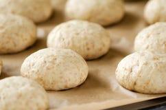 Owies chlebowe babeczki na wypiekowym prześcieradle Zdjęcie Royalty Free