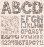 Ołówkowy nakreślenia abecadło, liczby i Ręka wektoru rysunkowy set Obrazy Stock
