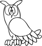 Owl 02. Owl high contrast line art drawing Royalty Free Stock Photos