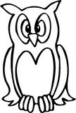 Owl 03. Owl high contrast line art drawing Stock Photo