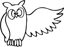 Owl 04. Owl high contrast line art drawing Stock Images