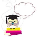 Owl. School sits on the wise owl books Royalty Free Stock Image