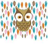 Owl. Illustration of a owl and leaves Stock Photos