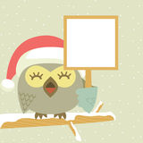 Owl. New Year's message, which pretty owl colored background Stock Photos