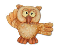Owl. Isolated on white background. Symbol of good luck Royalty Free Stock Photo