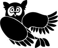 Owl. High contrast line art drawing Royalty Free Stock Photo