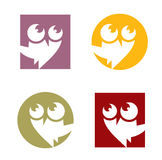 Owl. Vector design of owl on 4 colors and 2 shapes Stock Photos