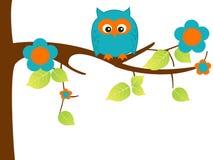 Owl. Childish illustration of owl over tree Stock Photography