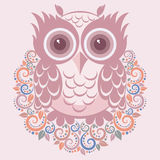 Owl. Vector illustration cartoon t-shirt print Royalty Free Stock Image